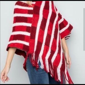 Deep Reds & white Fringed Poncho